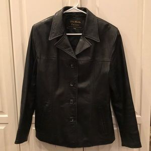 Men's Italian black Leather Coat Alta Moss Firenze